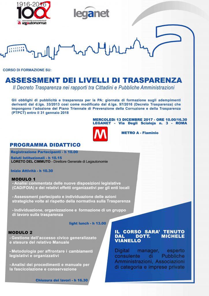 Programma corso trasparenza Lega Autonomia Locali